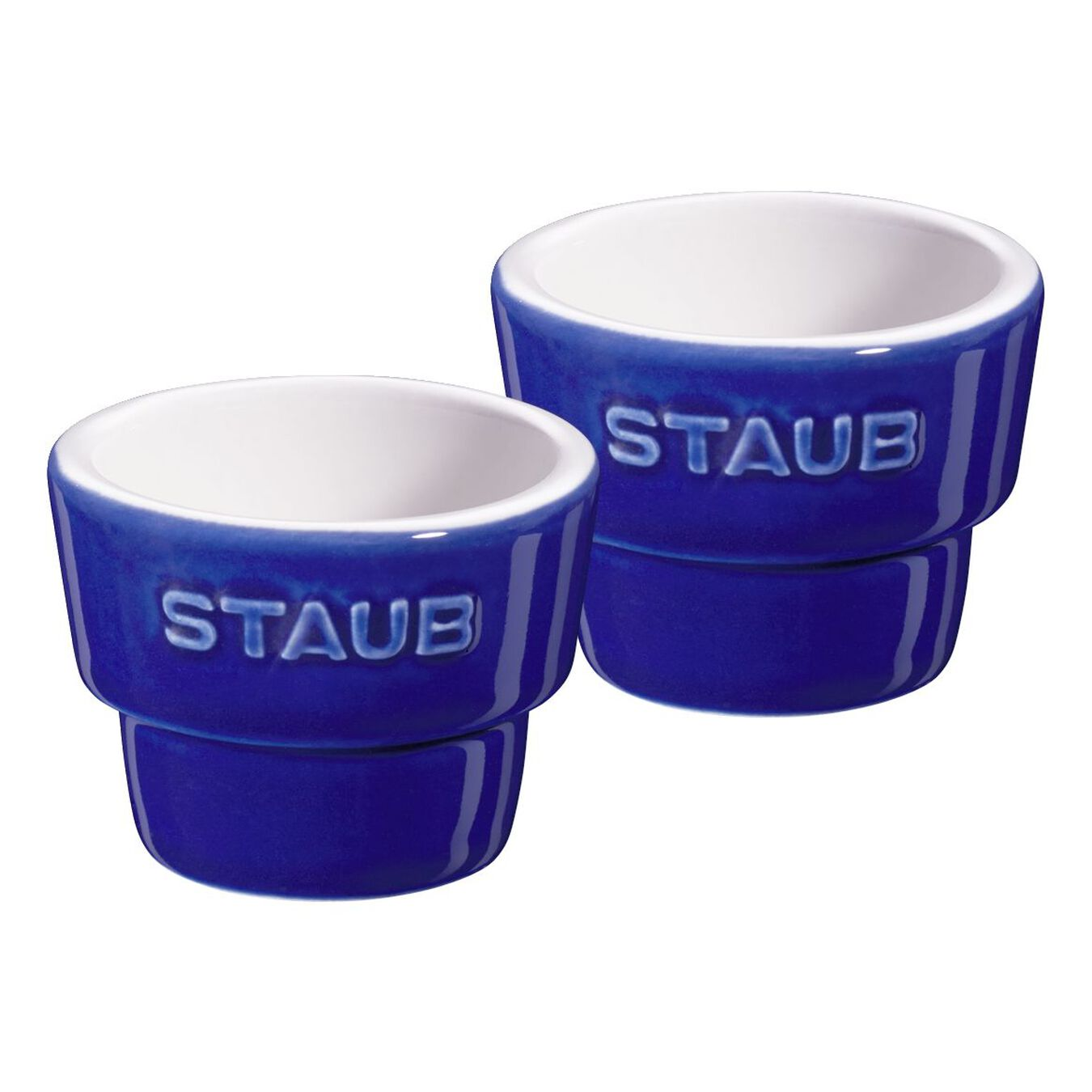 Conjunto porta ovo, 2-pçs   azul marinho   redondo   Cerâmica,,large 1