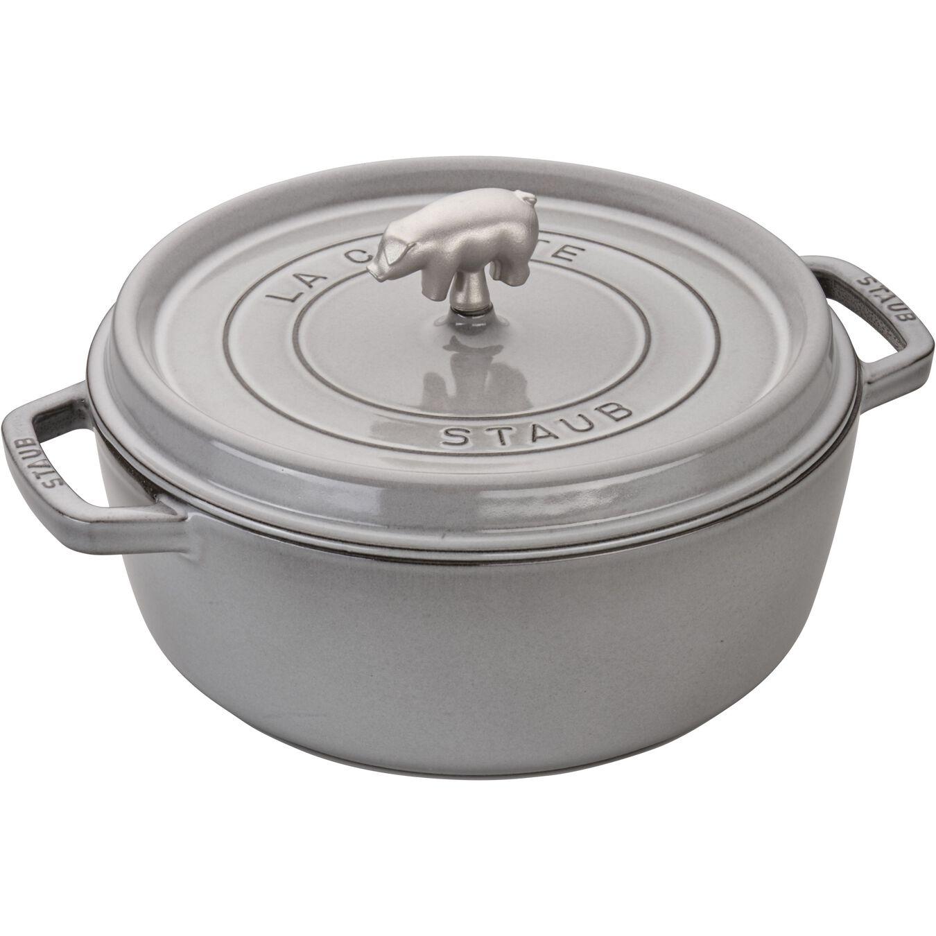 6 qt, pig, Cochon Shallow Wide Round Cocotte, graphite grey,,large 1