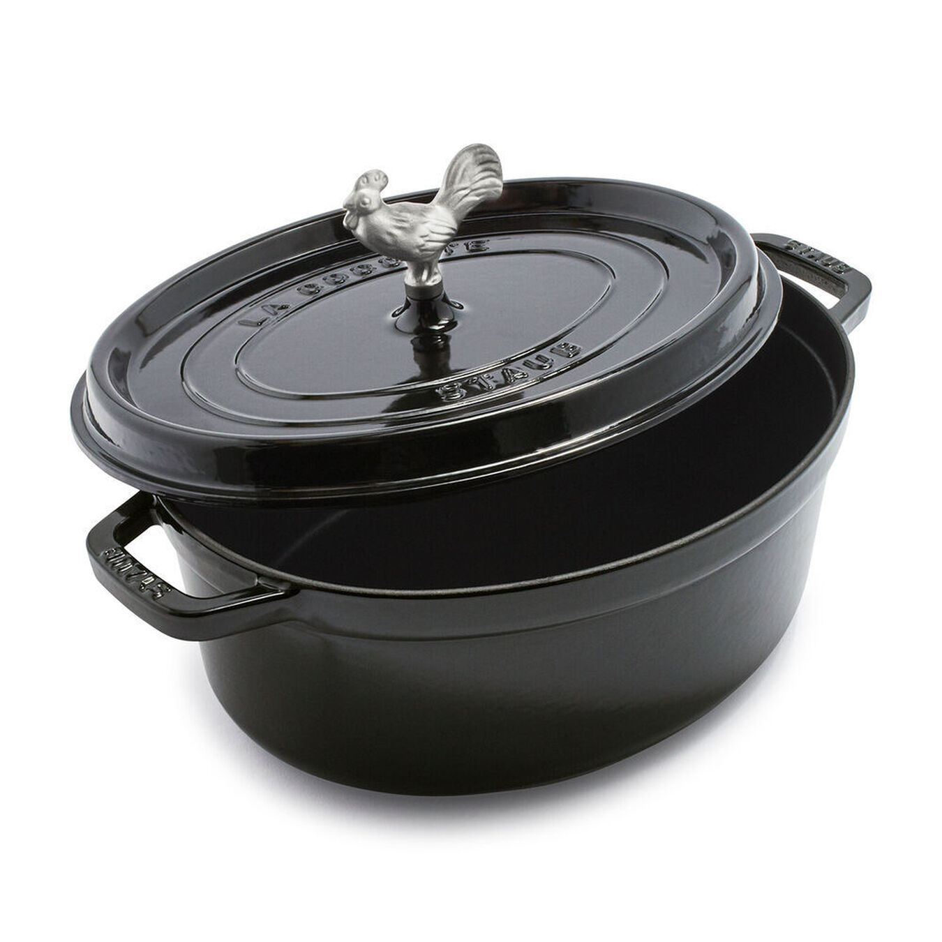 oval Cocotte, Shiny black,,large 1