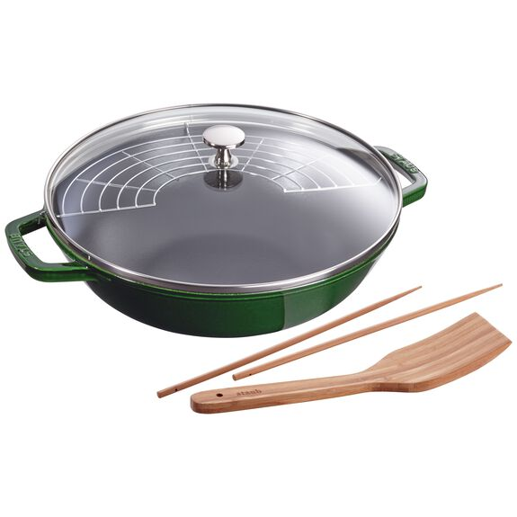 12-inch Enamel Wok with glass lid, Basil,,large 2