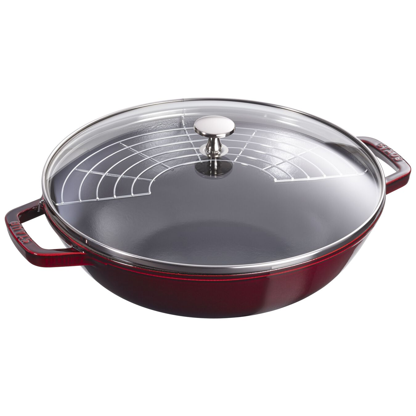 30 cm Cast iron Wok with glass lid, Grenadine-Red,,large 5