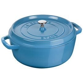 Staub Cast iron, 5-qt round Cocotte shallow, Ice-Blue - Visual Imperfections