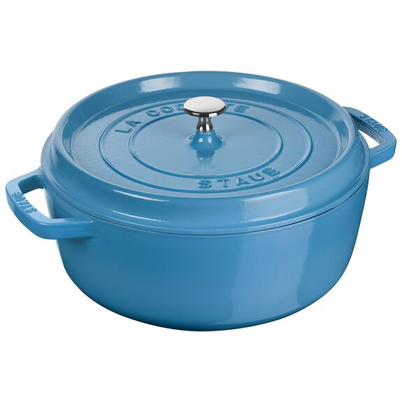 5-qt round Cocotte shallow, Ice-Blue - Visual Imperfections,,large