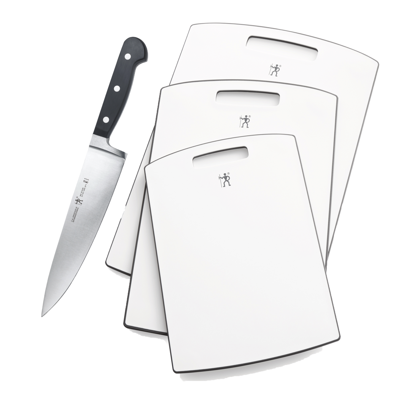"""8"""" Chef Knife and 3-Piece Poly Cutting Boards 1"""