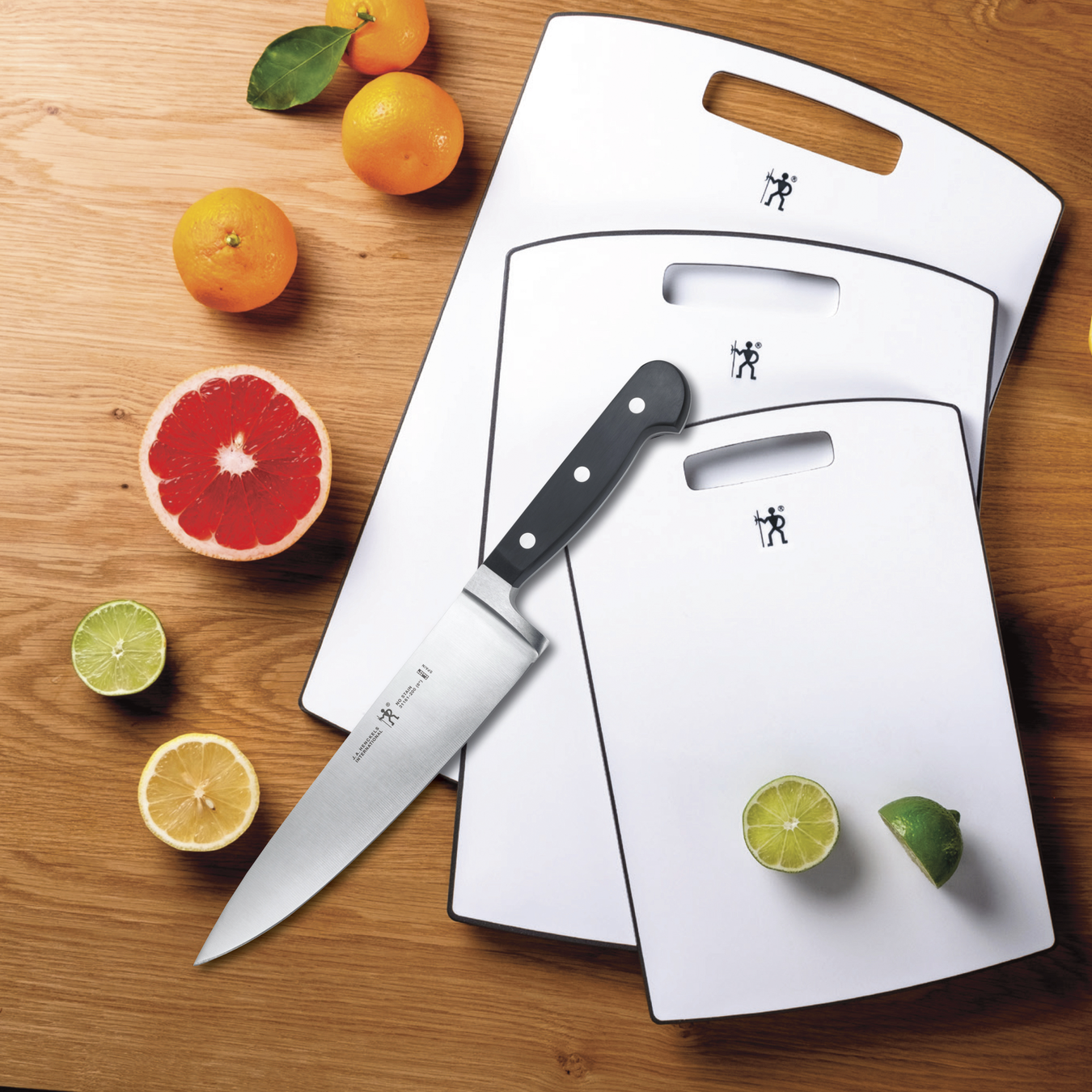 """8"""" Chef Knife and 3-Piece Poly Cutting Boards 2"""