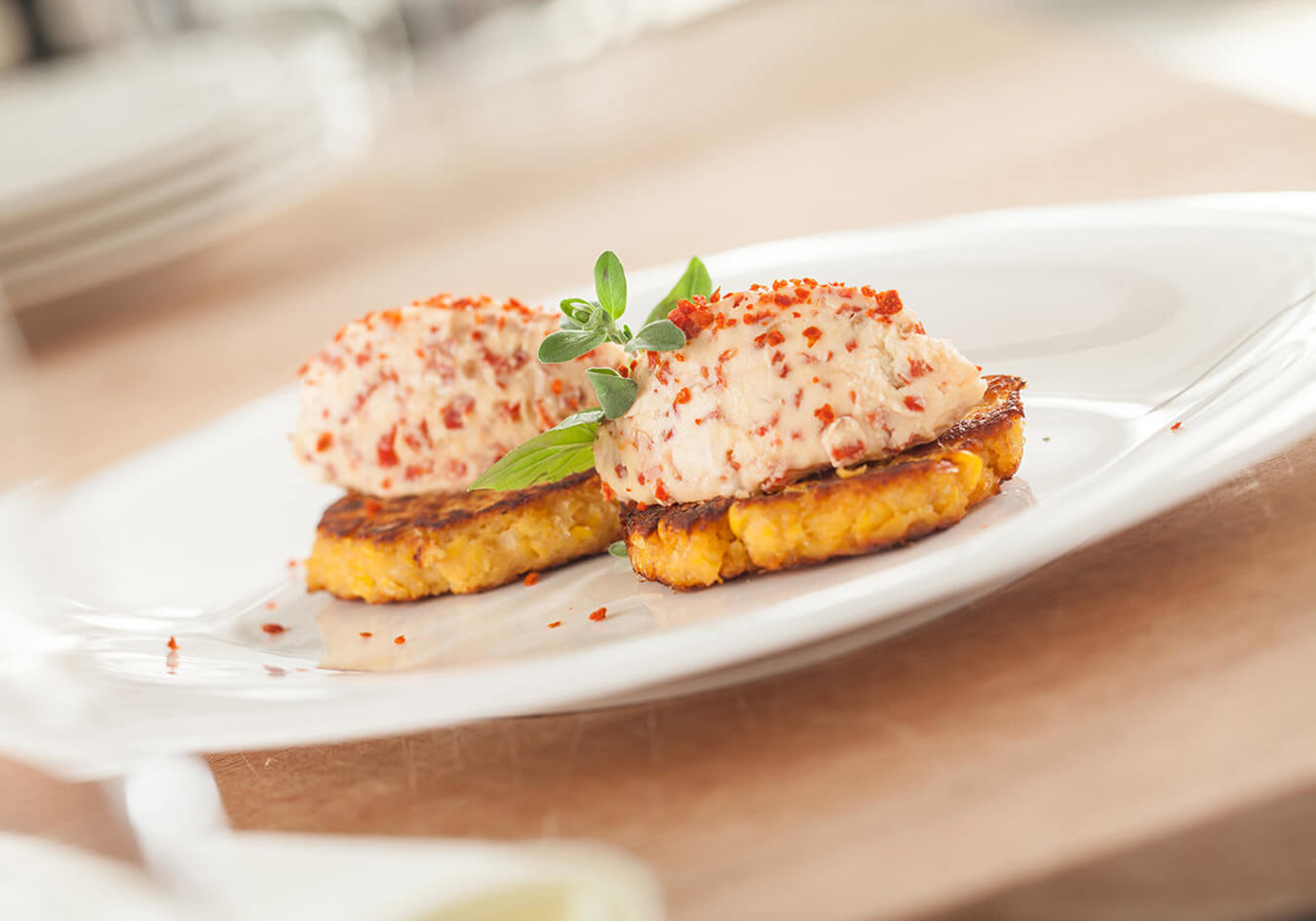 Corn blinis with mascarpone