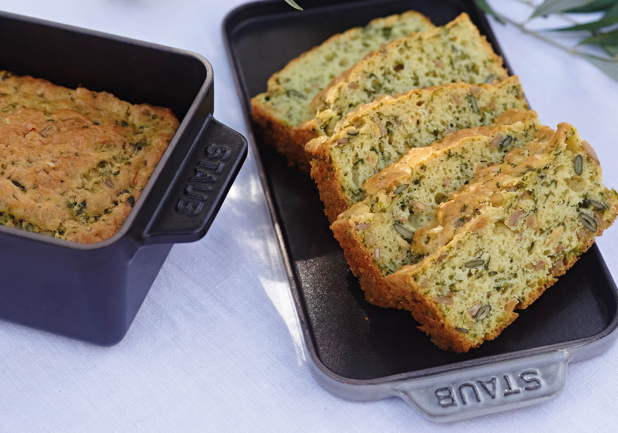 Wholegrain bread cake with basil