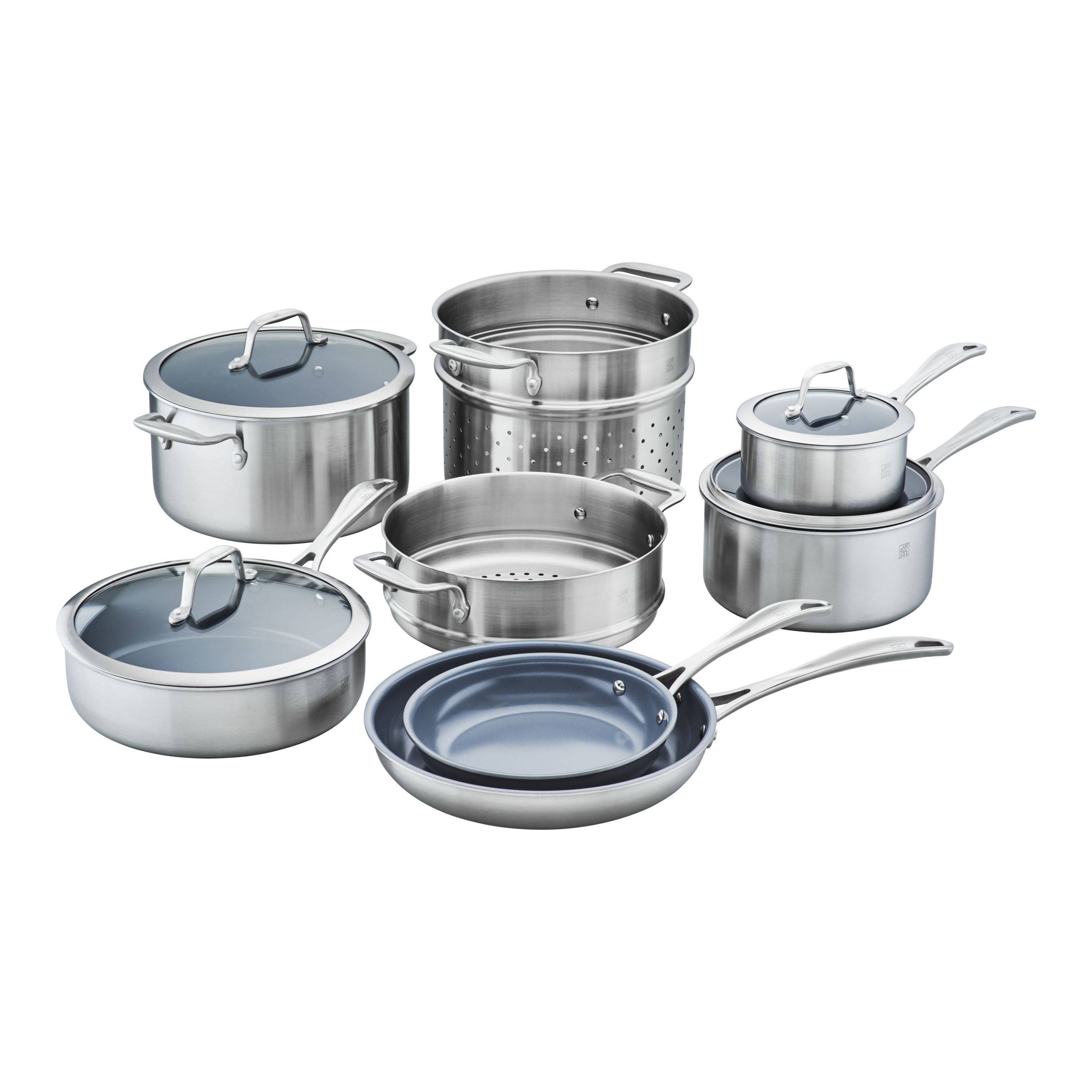 12pc INDUCTION PAN SET GLASS LIDS NONSTICK STAINLESS STEEL KITCHEN COOKWARE POT